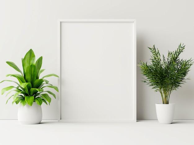 식물 포스터, 흰 벽 방에 꽃을 모의 인테리어 포스터. 무료 사진