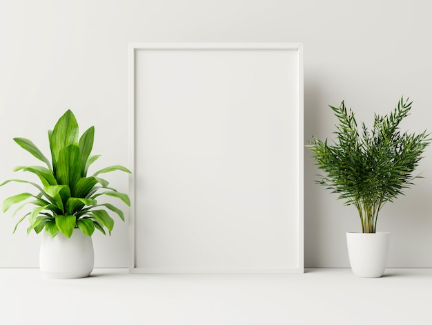 Interior poster mock up with plant pot,flower in room with white wall. Free Photo
