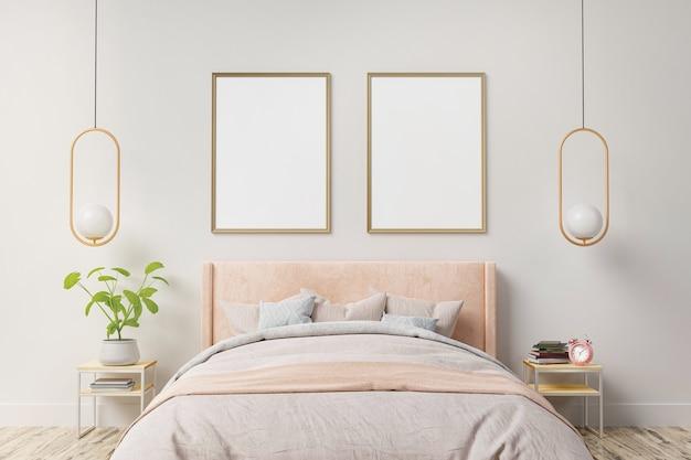 인테리어 포스터는 홈 침실 인테리어 벽에 두 개의 수직 프레임으로 조롱합니다. 프리미엄 사진