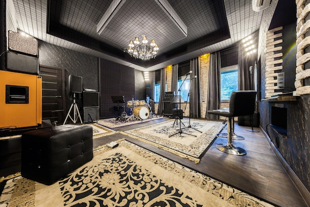 The interior of the professional recording studio with musical instruments Premium Photo