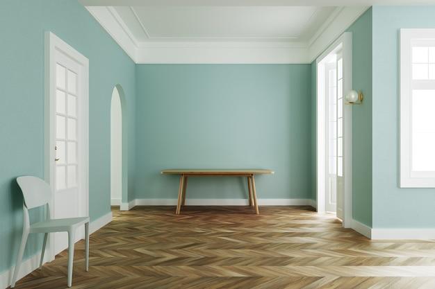 인테리어 룸 파스텔 그린 색상, 나무 테이블과 흰색 의자 클래식 스타일. 3d 렌더링 프리미엄 사진