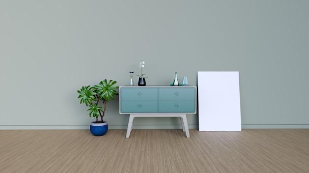 빈 프레임 인테리어 룸, 3d 렌더링 프리미엄 사진