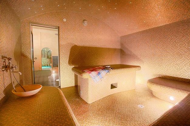 Interior of turkish sauna, hammam at spa center Premium Photo