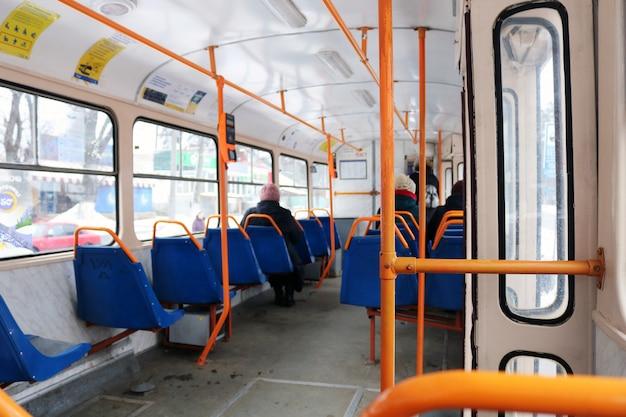 The interior of the urban bus Premium Photo