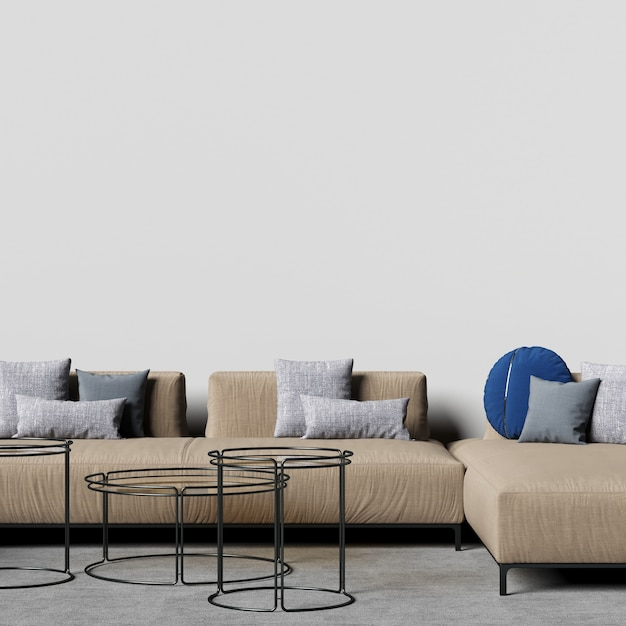 Interior wall gallery mockup with light brown sofa and decoration Premium Photo