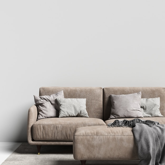 Interior wall gallery mockup with sofa and pillow Premium Photo