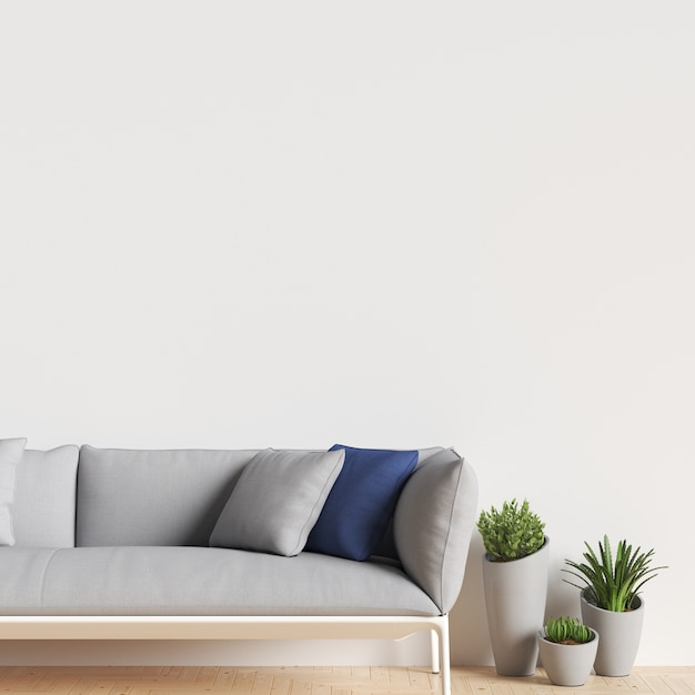 Interior wall gallery mockup with sofa and plant decoration Premium Photo
