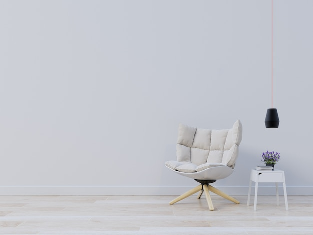 Genial Interior Wall Mockup With Armchair And Lamp, Plant On Empty White  Background. Premium Photo