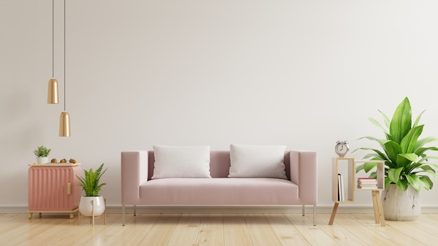 빈 흰 벽, 나무 바닥과 흰 벽에 핑크색 소파가있는 인테리어 벽 모형 프리미엄 사진
