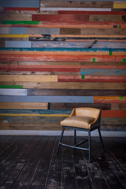 Interior With Multi Colored Wooden Wall Dark Wooden Floor