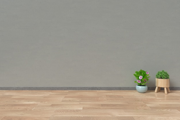 Interior with and ornamental plants on empty wall background Premium Photo