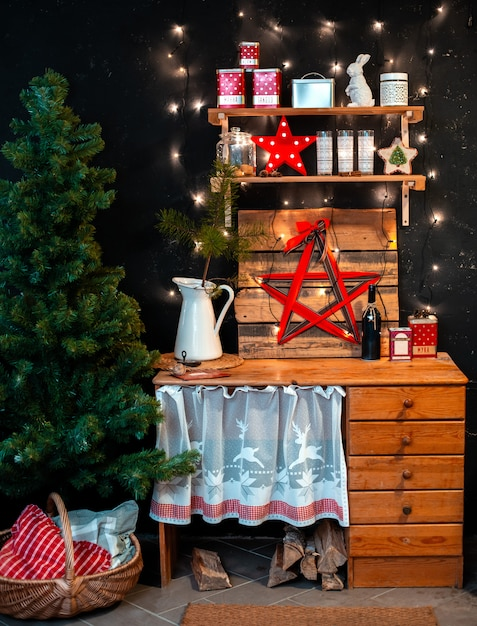 Premium Photo Interior Wooden Rustic Kitchen On Black Background And Red Christmas Decor