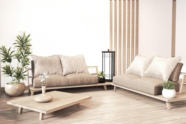 Interior Zen Modern Living Room Japanese Style Premium Photo