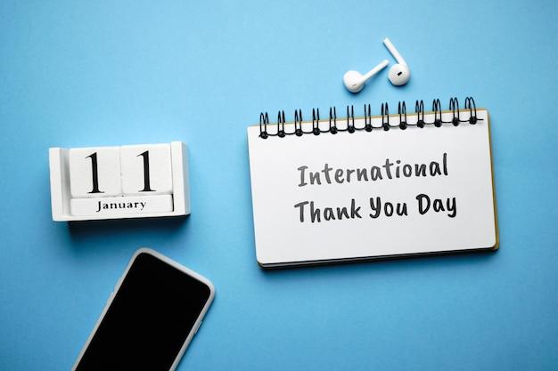 International thank you day of winter month calendar january. Premium Photo
