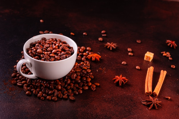 The invigorating morning coffee with sweets. it can be used as a background Premium Photo