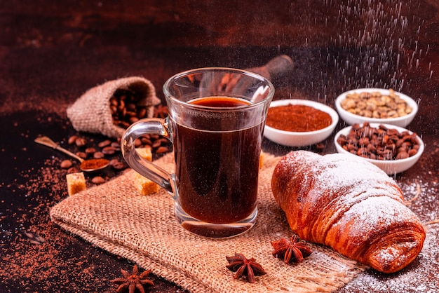 The invigorating morning coffee with sweets Premium Photo
