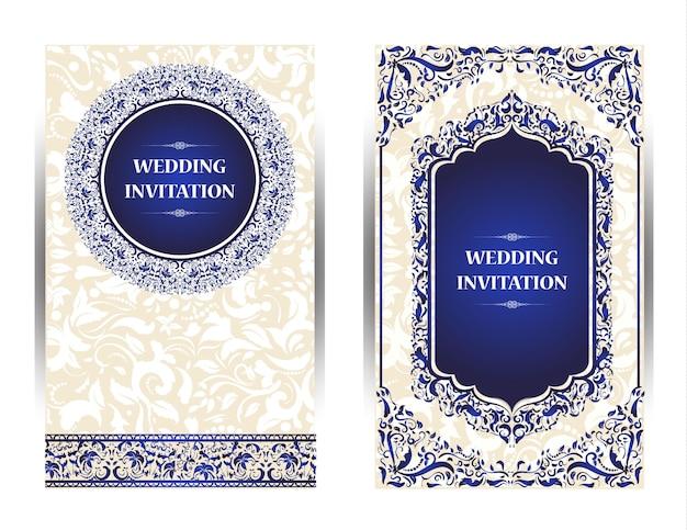 Invitation card vintage design with mandala pattern on purple Premium Photo