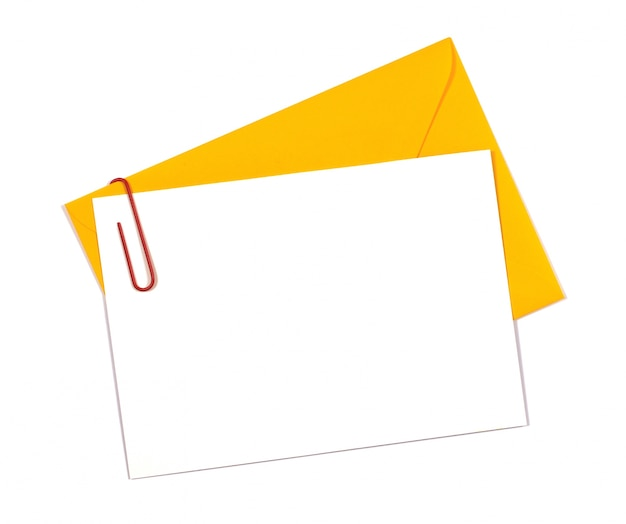 Invitation card with a yellow envelope Free Photo