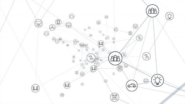 Концепция глобальной сети. iot (интернет вещей). Premium Фотографии
