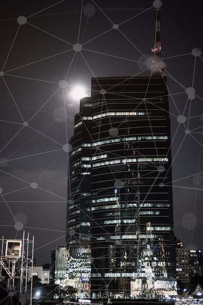スマートシティデジタルiotネットワーク構想、グラフィカルインターフェースによるビル事業 Premium写真