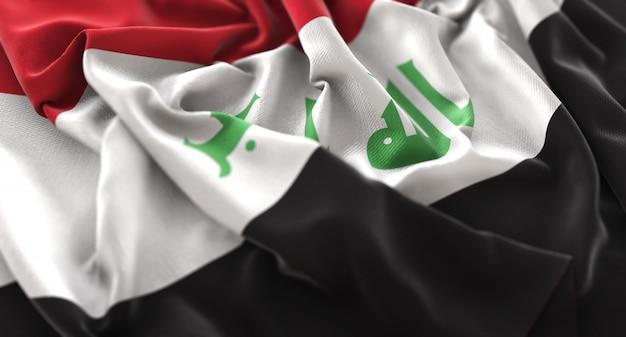 Iraq flag ruffled beautifully waving macro close-up shot Free Photo