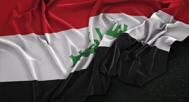 Iraq flag wrinkled on dark background 3d render Free Photo