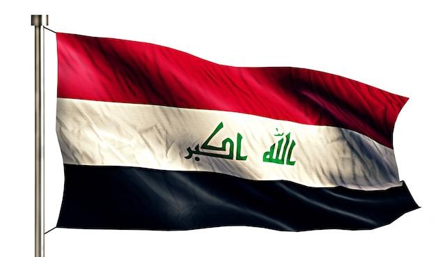 Iraq national flag isolated 3d white background Free Photo