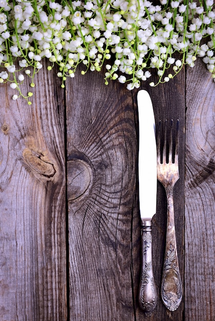 Iron fork and knife on a gray wooden background Premium Photo