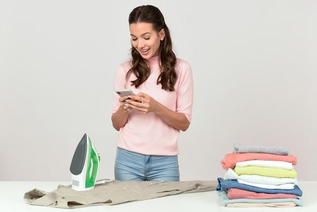 Ironing clothes Premium Photo