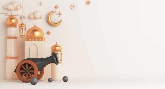 대포 모스크 아랍어 랜 턴 초승달 복사와 이슬람 장식 배경 프리미엄 사진