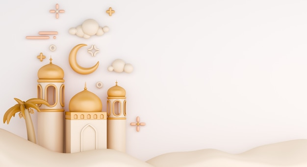 Islamic decoration background with crescent and mosque cartoon style Premium Photo