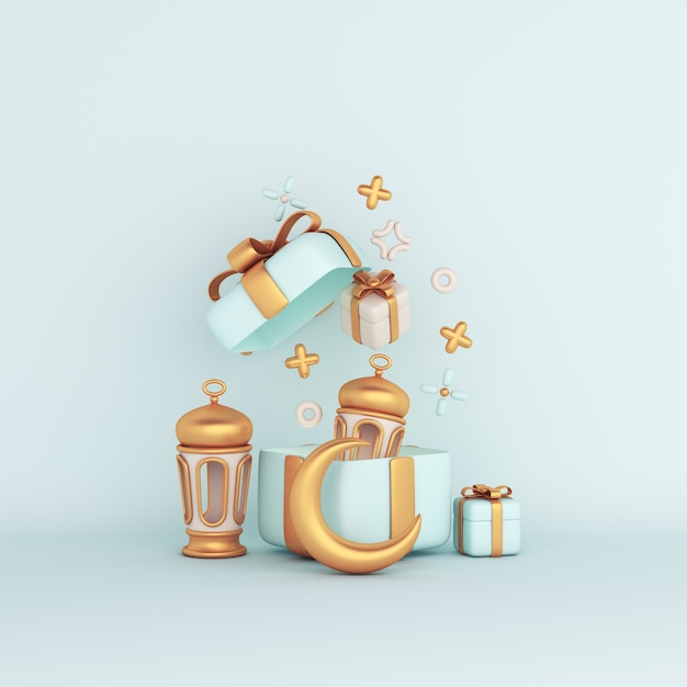 Islamic decoration with crescent arabic lantern arabic lantern and gift box Premium Photo