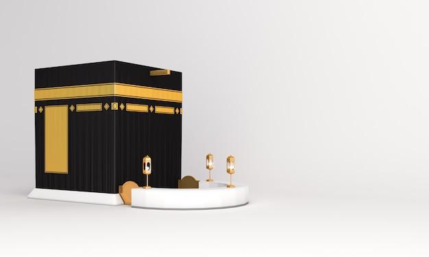 Masjid ka'bah Islam diisolasi dengan latar belakang putih Foto Premium