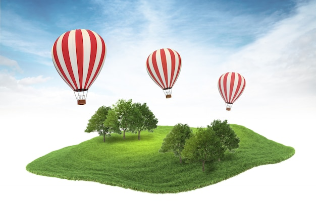 Island piece of land with forest and hot air balloons floating in the air on sky background Premium Photo