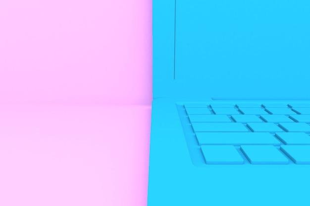 격리 된 3d 렌더링 노트북 컴퓨터입니다. 파란색, 분홍색 배경 프리미엄 사진