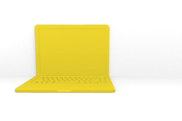 격리 된 3d 렌더링 노트북 컴퓨터입니다. 노란색, 흰색 배경 프리미엄 사진
