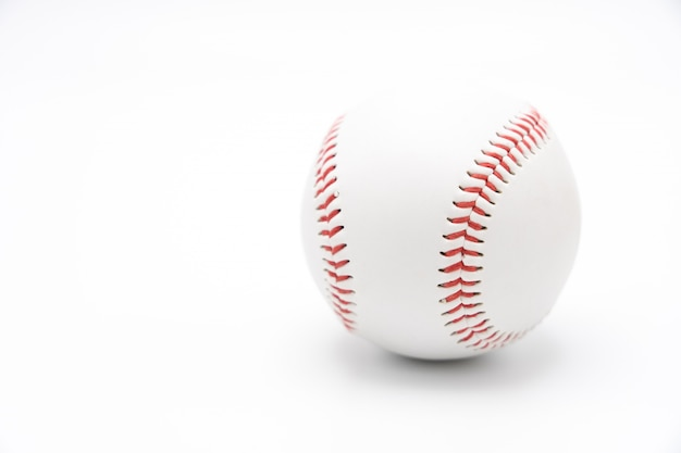 Isolated baseball on a white background and red stitching baseball. white baseball Premium Photo