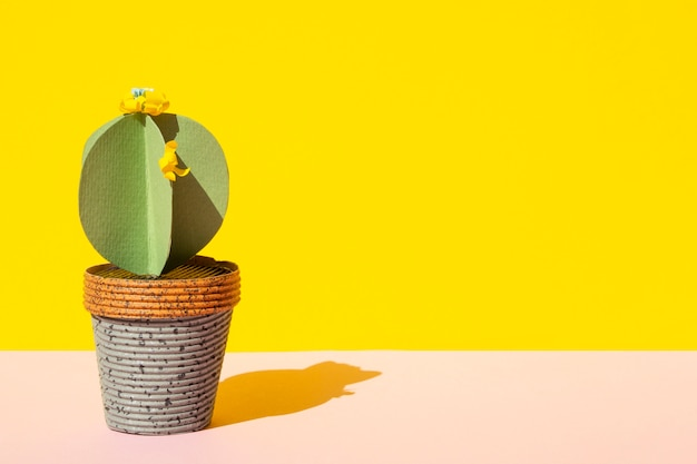 Isolated cactus in pot with copy space Free Photo