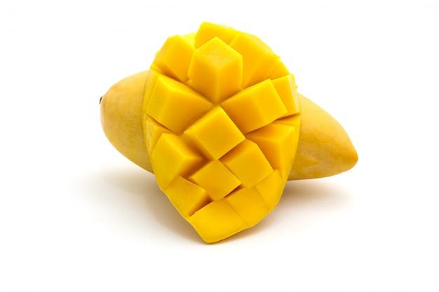 Isolated of carve beautiful yellow mango on white Premium Photo