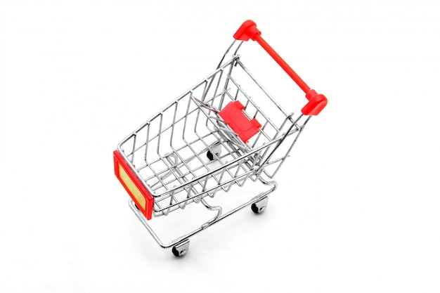Isolated empty shopping cart on white background  top perspective Premium Photo