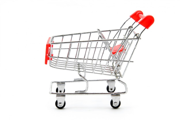 Isolated empty shopping cart on white background Premium Photo