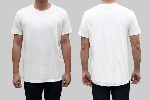 Isolated  front and back white t-shirt on a man body as a template for  t-shirt  design Premium Photo