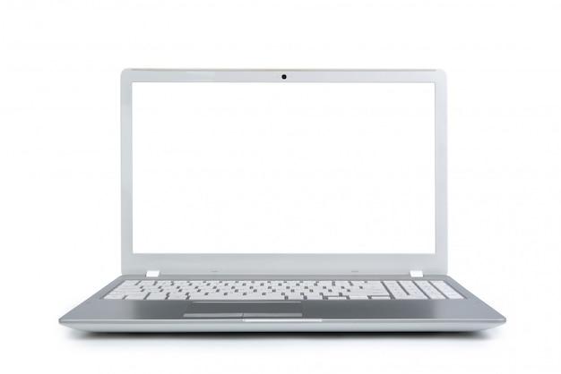Изолированная компьтер-книжка с пустым космосом на белой предпосылке. Premium Фотографии