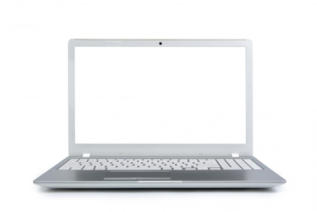 Isolated laptop with empty space on white background. Premium Photo