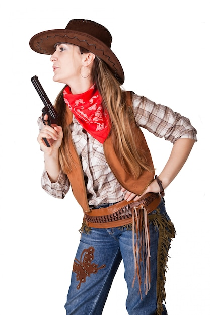 An isolated photo of a cowgirl with a gun Premium Photo