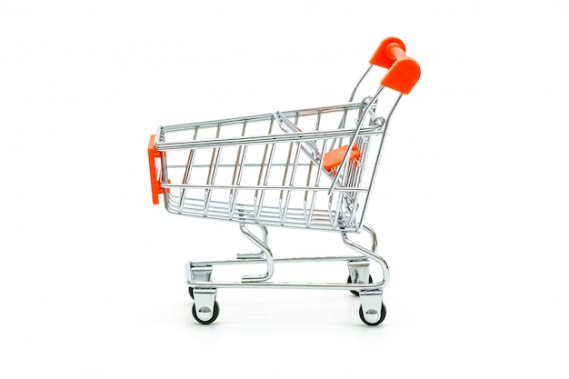 Isolated red shopping cart Premium Photo
