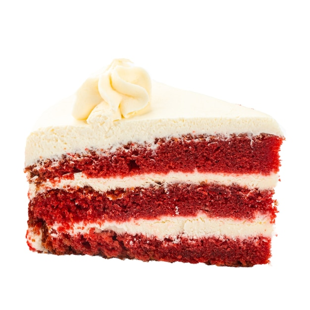 Isolated slice of red velvet sponge cake Premium Photo