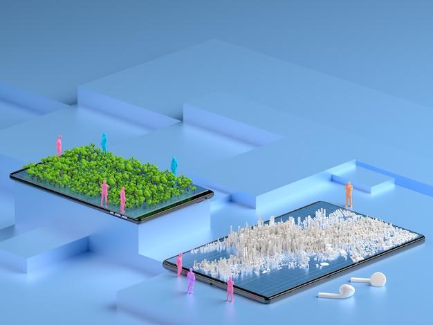 Isometric city on the smartphone Premium Photo