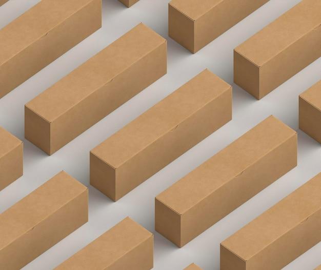 Изометрический дизайн макета картонной коробки Бесплатные Фотографии