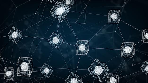 Isometric digital blocks square code big data connection Premium Photo